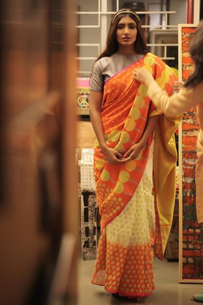 Brahma Karma- Hand Printed Sari