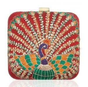 Zardozi peacock clutch by Tarini Nirula