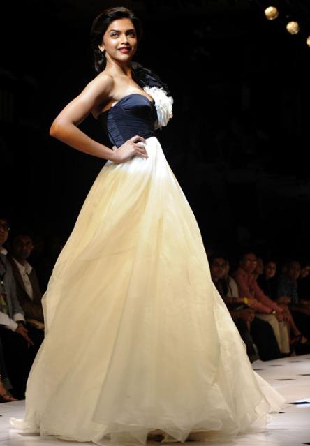 Deepika Padukone in a Custard gown