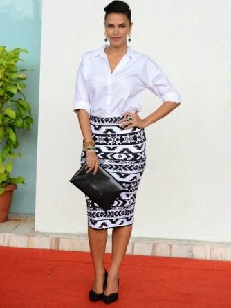 neha dhupia-aztec-skirt