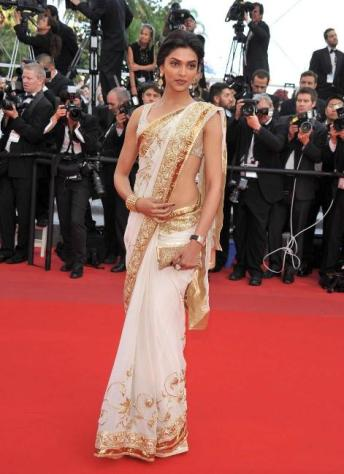 Deepika Padukone in a contemporary Chanderi Saree