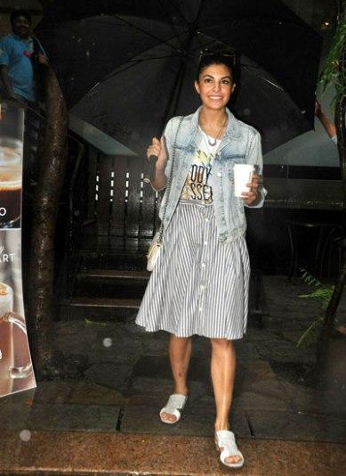 jacquelinFernandez in a Funky A Line Skirt