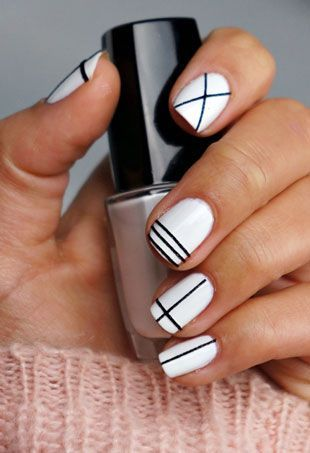 white-black-easy-geometric-nails-pinterest