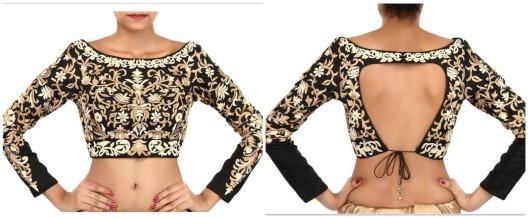 Black blouse embellished in zari embroidery-Kalki-red-polka