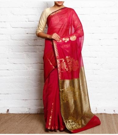Rani Pink Faux Cotton Silk Fancy Banarasi Saree-Bunkar-Red-Polka