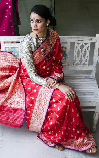 Red-Benarasi-Saree-Indian-August-Red-Polka