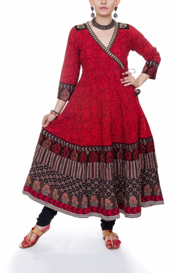 Red and Black Kediya anarkali Set