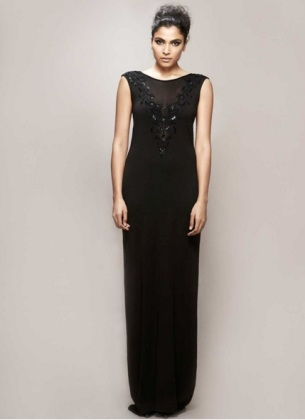 PLUNGING V-NECK GOWN- Bare in Black- red polka