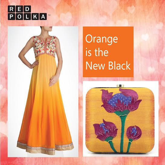 Orange is the new black square creative- red polka